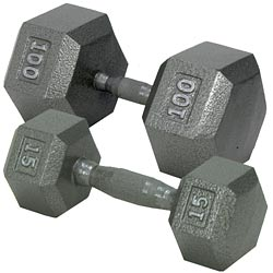 Champion Hex Dumbbell w/ Straight handle 35 lb hand weights