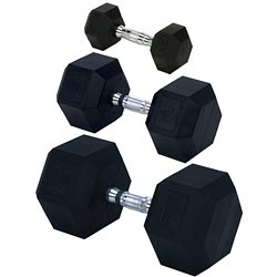 Rubber Encased Solid Hex Dumbbell 60lb (EA)